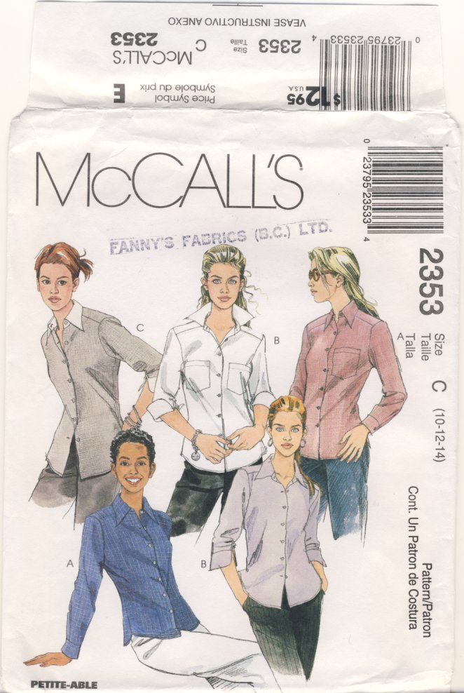 McCalls 2353  Misses Shirt Sizes Multi Size 10 - 12 - 14 (Petitable) by susanbeingsnippy on Etsy
