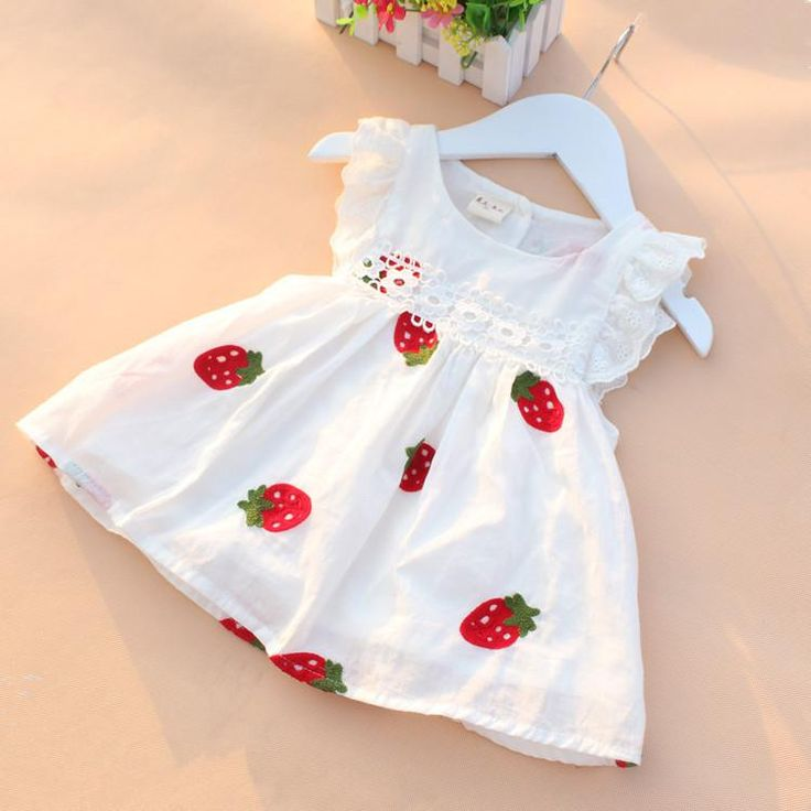 High Quality 0-2Y Newborn Baby Girl Dress Baby Summer Embroidery Flower Strawberry Cotton Dress Infant Baby 1Year Birthday Dress