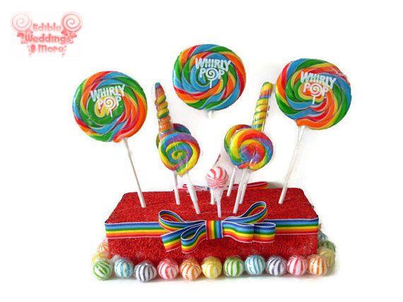 Rainbow Lollipop Centerpiece, Candy Centerpiece, Rainbow Centerpiece, Birthday, Candy, Buffet, Wedding, Circus, Carnival, Rainbow Party on Etsy, $24.99