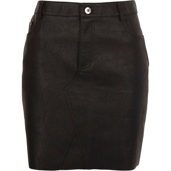 River Island Black faux leather raw edge mini skirt ($64) ❤ liked on Polyvore featuring skirts, mini skirts, black, women, vegan leather mini skirt, leather look skirt, leather look mini skirt, river island skirts and vegan leather skirt