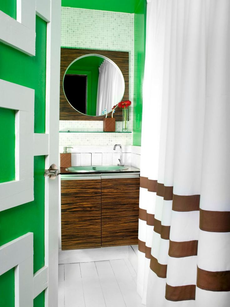 20 Cool Bathrooms Ideas With Green White Bathroom Wall And Brown Shower Curtain Wooden Storage