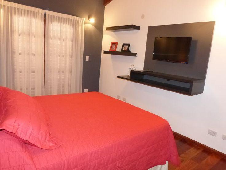 Mueble de tv volado Para dormitorio juvenil En melamina gris y negra