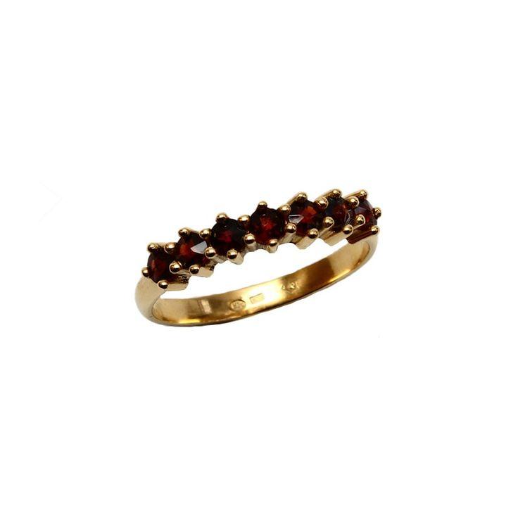 Zlatý granátový prsten - 008 (Au 585) - Českédrahokamy.cz