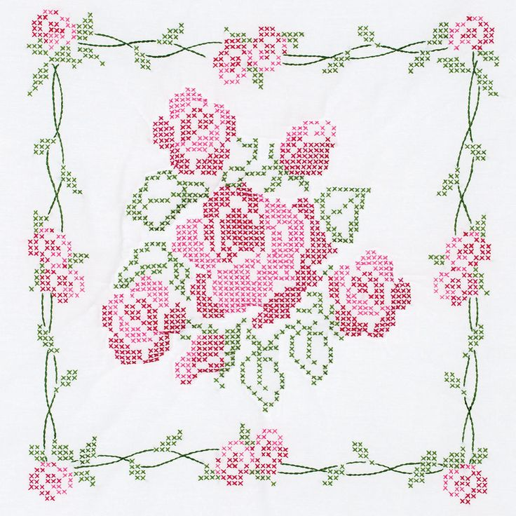 "Stamped White Quilt Blocks 18""""X18"""" 6/Pkg-Rose Bouquet"