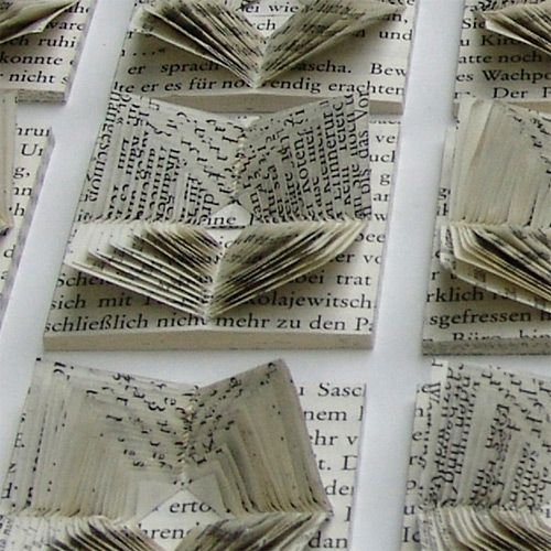 """Books can be subjected to censorship even today because of their seditious or inhuman substance. They then become interesting and are distributed on the black market. My censored ""books"" are cut, folded and thrown together – you can read them, but the text can only be fragmentarily decoded. The entire story of the book is used but cannot be read anymore."" ~ Helene Tschacher"