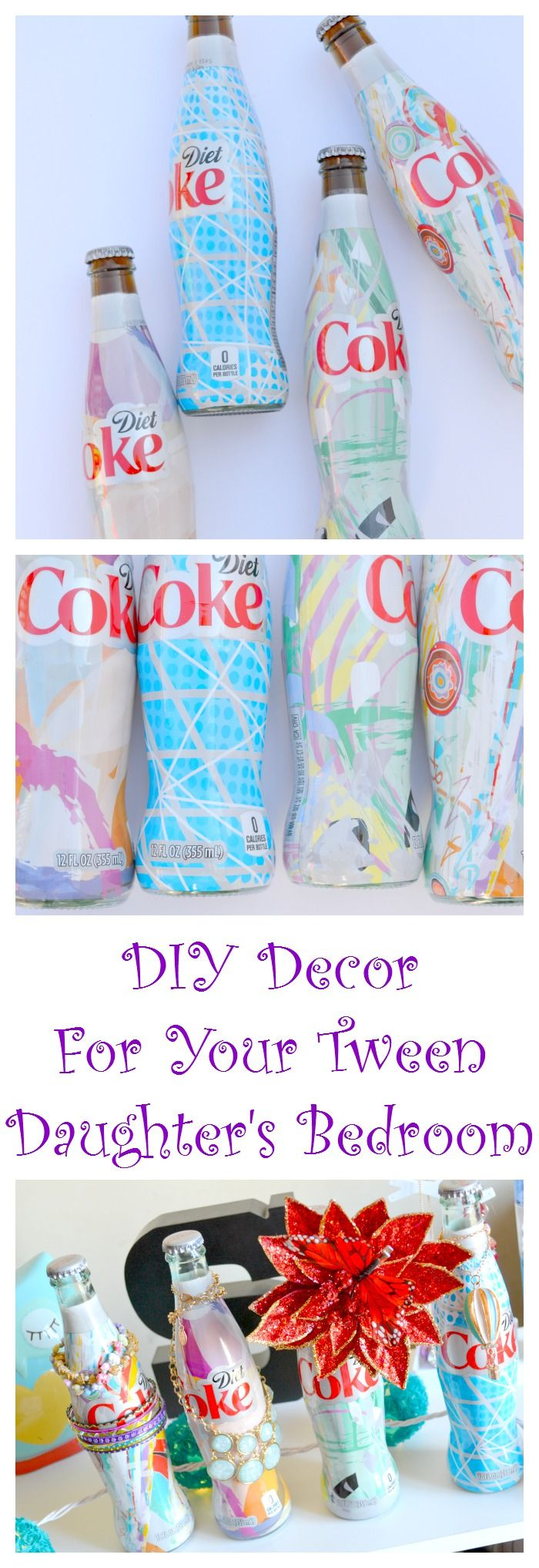 Make this DIY decor for your tween's bedroom. This is an easy craft that be done with  decorative soda bottles. They can be used as jewelry holders, flower vases, and to match the decor!