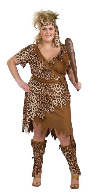 Cavewoman Plus - This is a prehistoric cavewoman costume. Just like Fred Flintstone's wife Wilma, any self-respecting primitive cavewoman needs something nice to wear out. This is a three-piece outfit with a dress, headband and leg warmers. The half animal print dress is a wrap-around with a sash that ties up around the waist. The armholes, collar, and edges of the dress are all jagged-cut. The legwarmers also have animal print and the edges are the same ragged cut.
