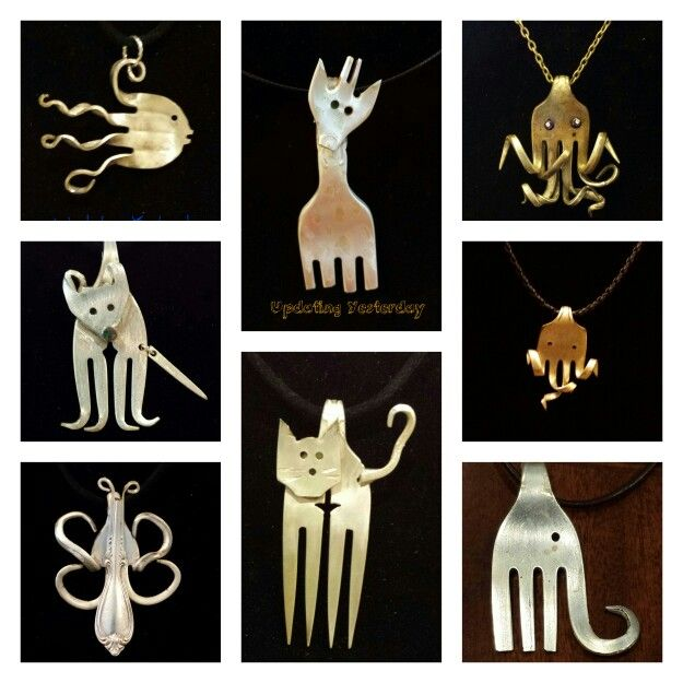Animals from silverware silver plate jewelry