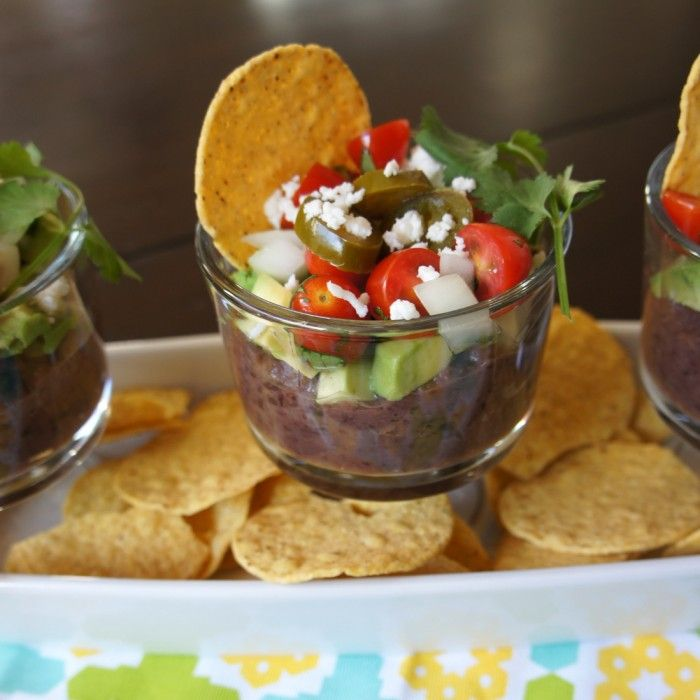 5 Layer Black Bean Dip with avocado!