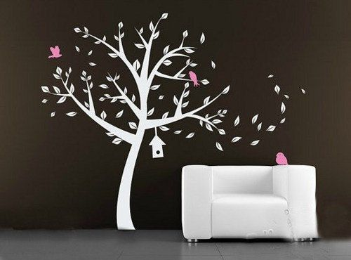Modern white tree with pink bird Nursery leaves birdhouse Art Decals Wall Sticker Vinyl Wall Decal stickers In 2019 - Modern baby room decals Plan