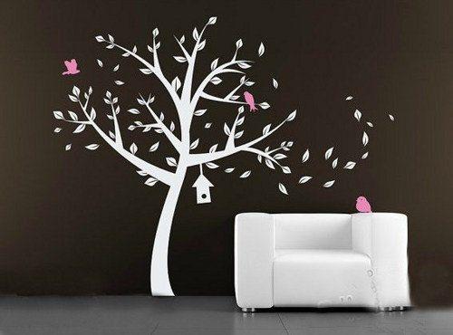 Modern white tree with pink bird Nursery leaves birdhouse Art Decals Wall Sticker Vinyl Wall Decal stickers In 2019 - Modern baby room decals Plan