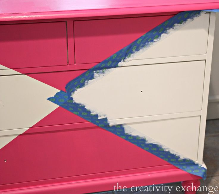 Tutorial for creatively painting children's furniture pieces. Dresser painted with Velvet Finishes (The Creativity Exchange)