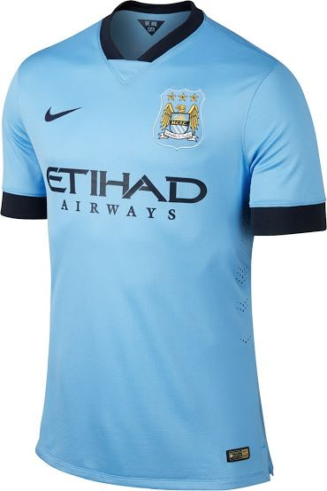 - Manchester City FC 2014/15 Home Kit - Solid light blue with midnight blue sleeve and collar hems. Nike. Premier League.