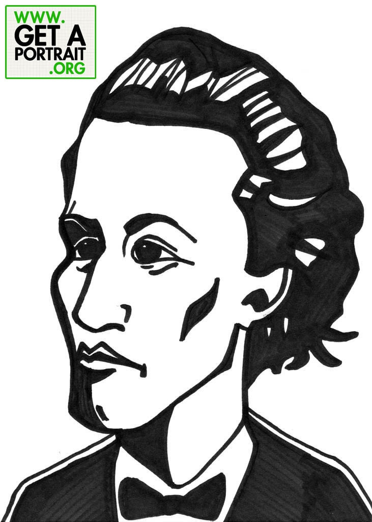 Caricature of Mihai Eminescu, Romanian poet — Get a high quality PORTRAIT or CARICATURE from a pro, for an unbeatable price! http://GetAPortrait.org