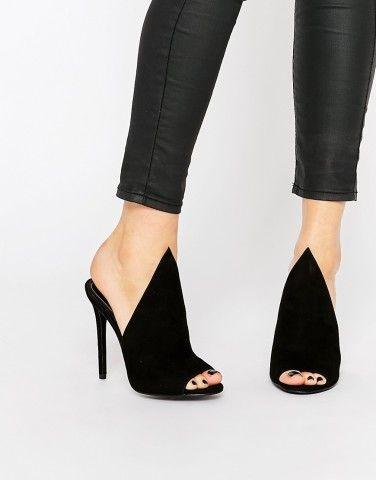 Kendall & Kylie Essie Black Suede Point Vamp Mule Heeled Sandals at asos.com