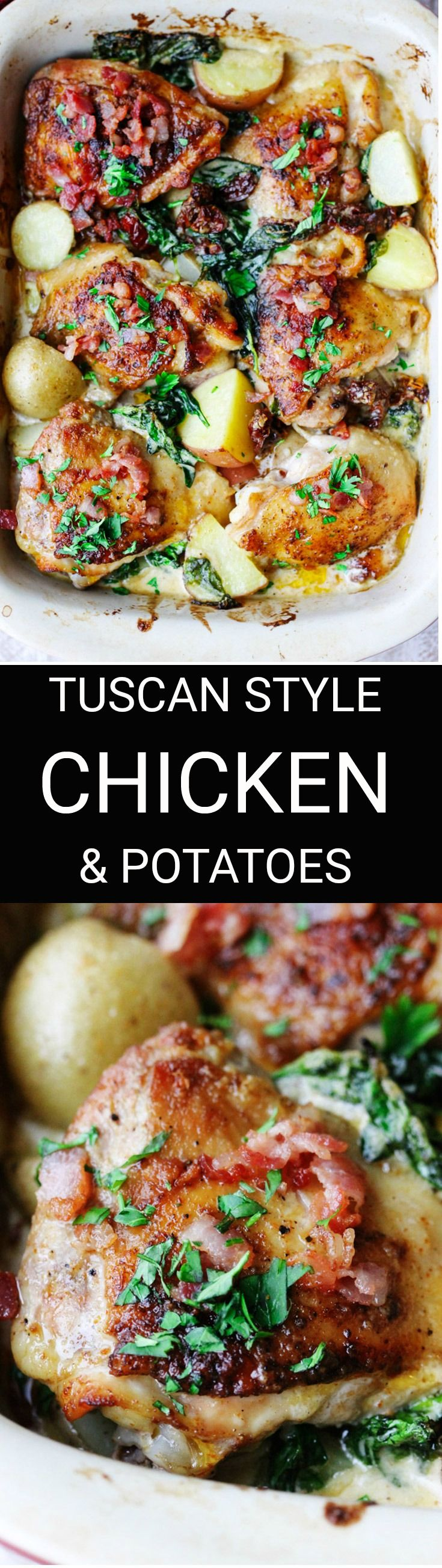 Tuscan Style Chicken and Potatoes is an extremely satisfying dish. Crispy chicken and potatoes with spinach, sun dried tomatoes and bacon bits, all smothered in a creamy Parmesan sauce. Doesn't that sound amazing? #chicken #tuscanchicken #parmesan #parmesangarlic #sundriedtomatoes #creamsauce #potatoes #dinner