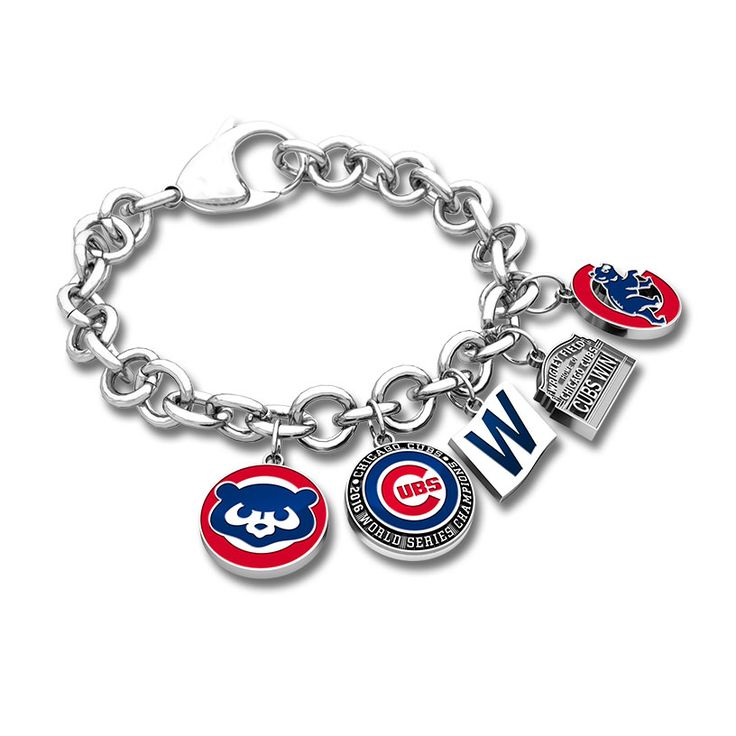 """This Link-Style Charm Bracelet is made of sterling silver and features 5 charms including a Cubbie Bear Charm, a Cubs Championship Charm, a """"W"""" Flag Charm, a Wrigley Field Marquee Charm, and a Walking Bear Charm. Customize to show your Cubs pride with other charms found in this collection. Available in sterling silver Average charm size is slightly under 1"""" Bracelet length measures 8"""" STYLE: CC119"""
