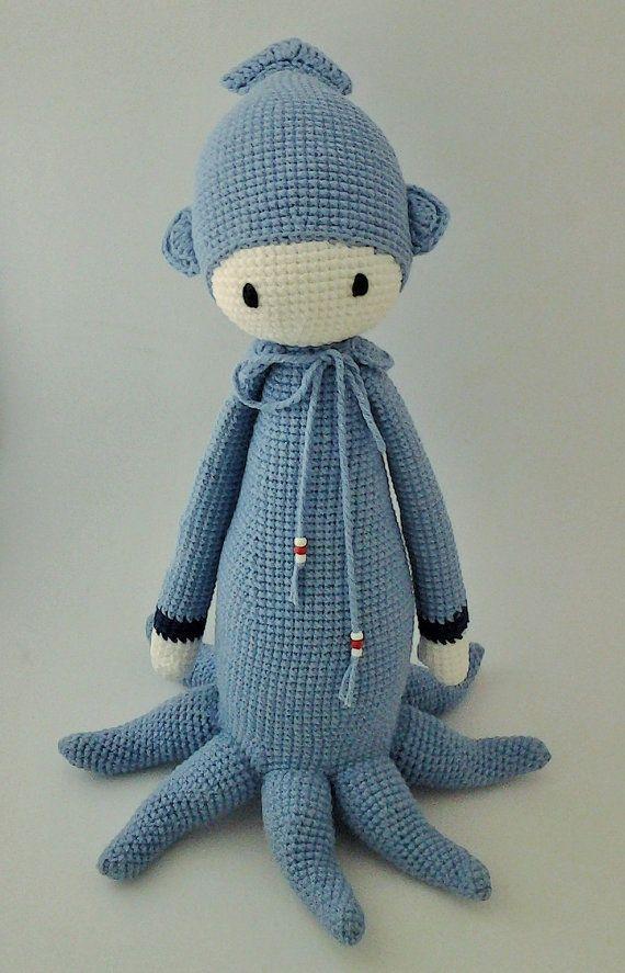 Lalylala Oleg the Octopus Handmade Crochet by ElaMakrelaCrochet
