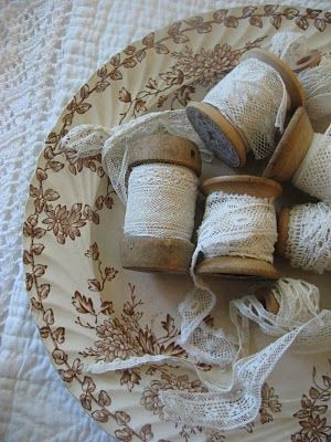 laceLace Ribbons, Ribbons Lace Buttons Spools, Old Spools, 52 Fleas, Antique Lace, Vintage Lace, Wooden Spools, Sewing Rooms, Organization Ideas