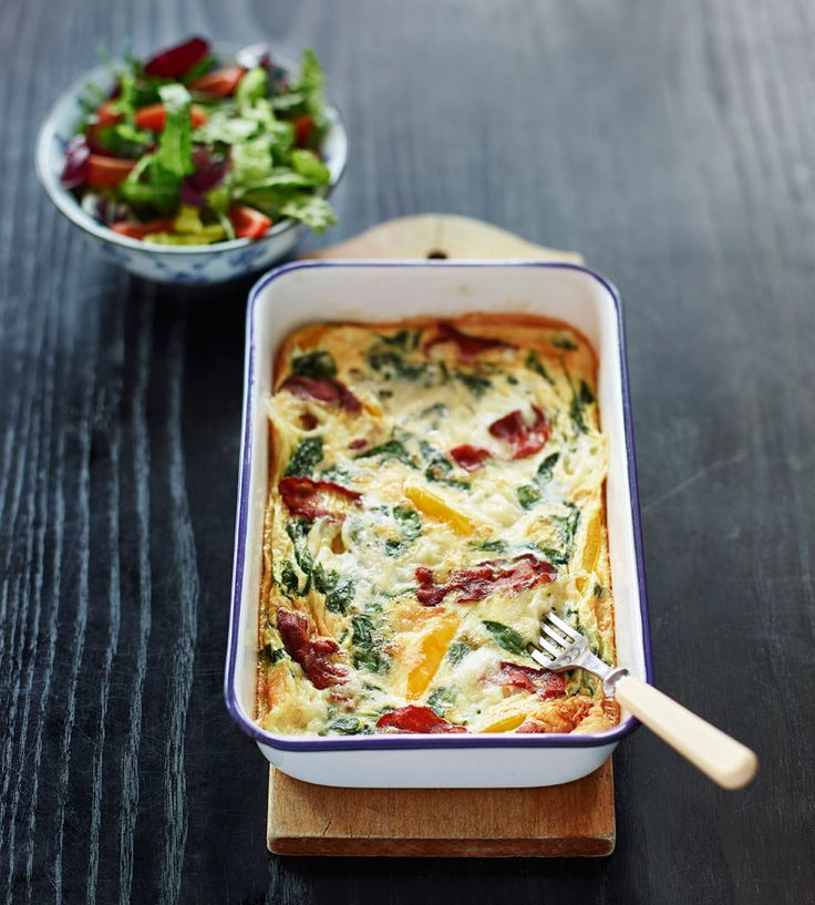 Spenatfrittata med bacon och chevre