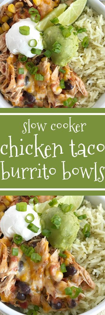 Slow cooker chicken taco burrito bowls are a fuss-free, minimal prep & ingredients, and a family favorite dinner recipe. Cheesy chicken taco meat is made in the slow cooker! Create your very own burrito bowl, at a fraction of the cost of take-out, right at home. Cheesy chicken taco meat served over some cilantro lime rice and topped with avocado, sour cream, green onions, and whatever else you want   www.togetherasfamily.com #chickenrecipes #tacorecipes #tacos #slowcookerrecipes…
