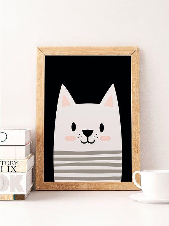Cat print, Cute cat, Animals print, Scandinavian print, Scandinavian Nursery, Minimalist nursery, Black and white, Nursery wall decor