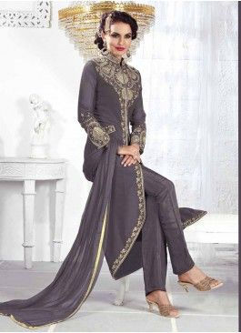 Alluring Grey Coloured  Georgette Semi-Stitched Designer Salwar Suit