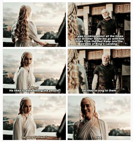Rhaegar sounds like he was a nice person. I really hope the Rhaegar+Lyanna=Jon theory is true :'^) that would make Daenerys Jon's aunt and they're basically the same age. Expect I also sort of kind of ship them as Ice and Fire but I think I'd rather have Jon be a Targaryen (although he'd still be a Snow since Rhaegar and Lyanna weren't married and were never intended to be)