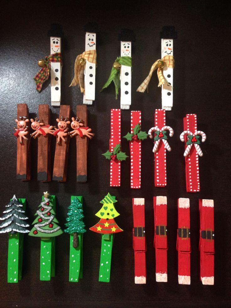 Para esta Navidad: ganchos de ropa adornados