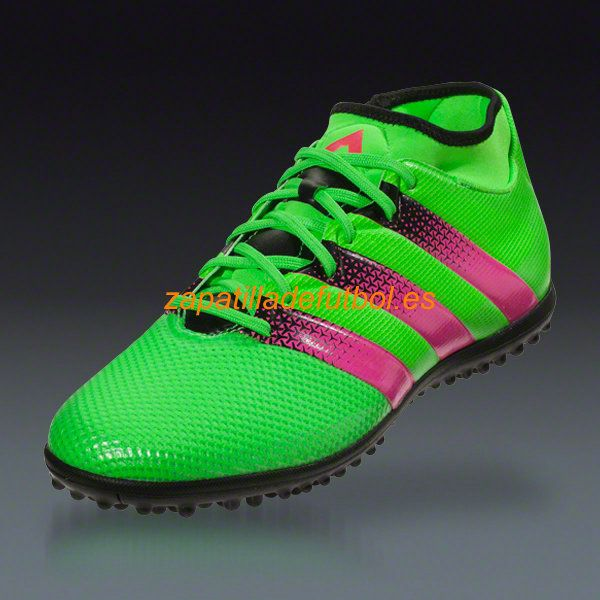 Zapatos de futbol Sala Adidas Ace 16.3 Primemesh TF Turf Solar Verde Rosa Choque Negro