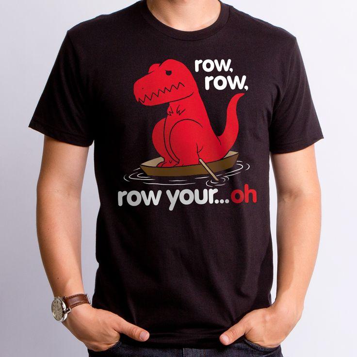 Row row row your boat Sad T Rex T-Shirt. Unhappy Clap Dino can't win!