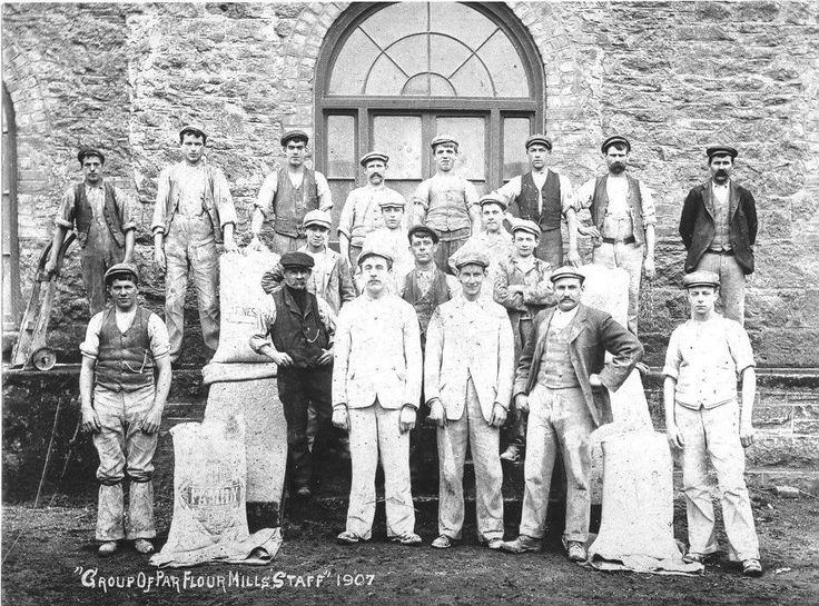Staff at Par Flour Mills, Cornwall England in 1907