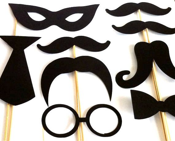 Photo Props Party Pack Set of 9 Wedding Photo Booth Props Party Photo Props Party Decorations Party Supplies Masks Glasses Mustache