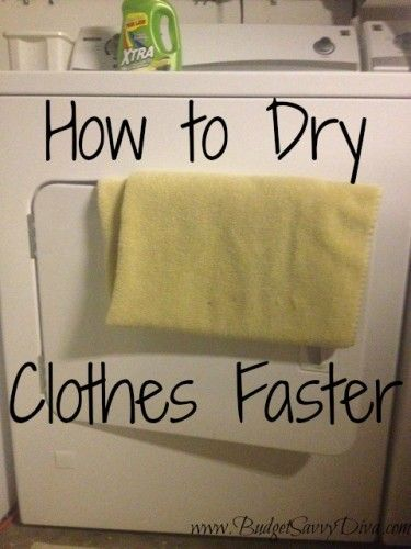 Adding a clean dry towel to your wet clothes while drying helps them dry super fast.  I've used this method for awhile now and it totally works!