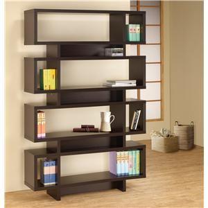Bookcases Contemporary Cappuccino Finish Open Bookcase