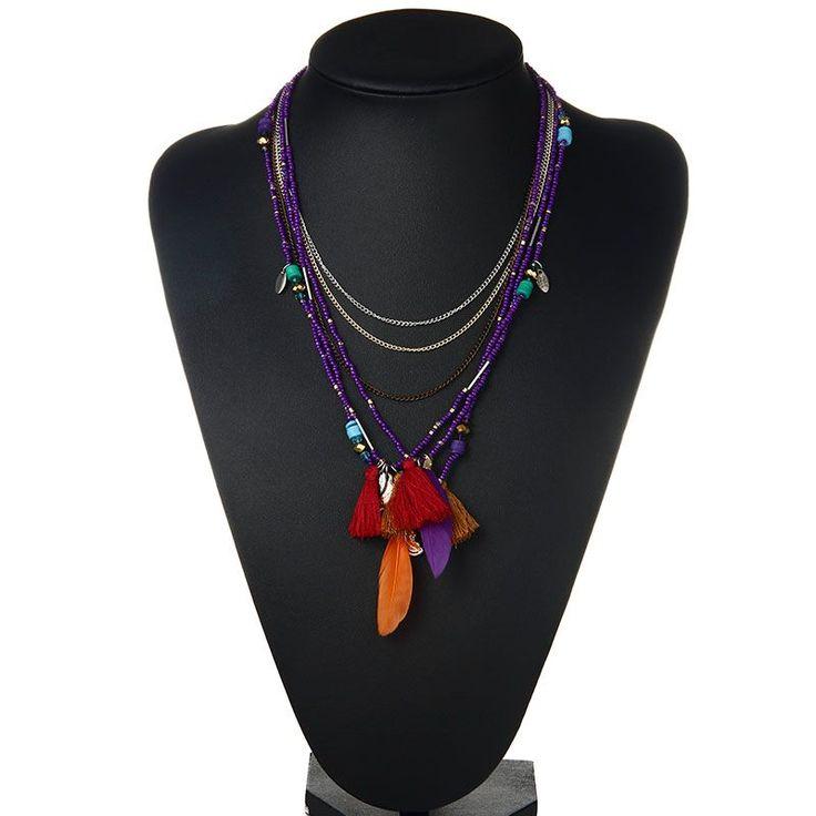 2016 Богемия Многоцветный Перо Ожерелья и Кулоны Бусы Заявление Ожерелье Женщины Ожерелье Этнические Украшения Для Женщин Подарок