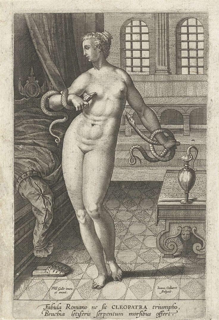 Jan Collaert (II) | Dood van Cleopatra, Jan Collaert (II), Philips Galle, 1576 - 1628 | Cleopatra, koningin van Egypte, maakt een eind aan haar leven door zich te laten bijten door een giftige slang. Ze staat naakt naast het bed. In haar handen twee slangen. Ze besluit de hand aan haarzelf te slaan omdat ze niet gevangen wil worden door de Romeinen. De prent heeft een Latijns onderschrift en maakt deel uit van een serie over befaamde zelfmoorden uit de Oudheid.