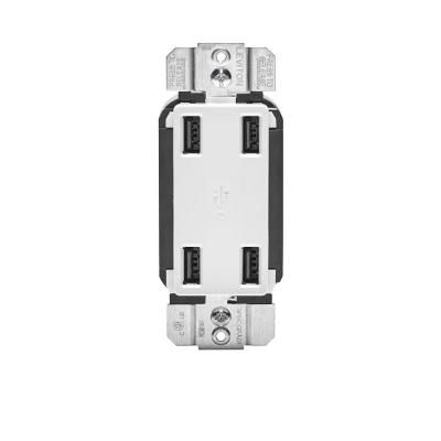4 2 Amp Decora 4 Port Usb Charger Combo Outlet White