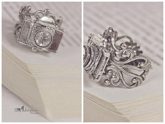 CAPTURE the moment camera RING adjustable silver antique bronze photographer gift on Etsy, $10.00