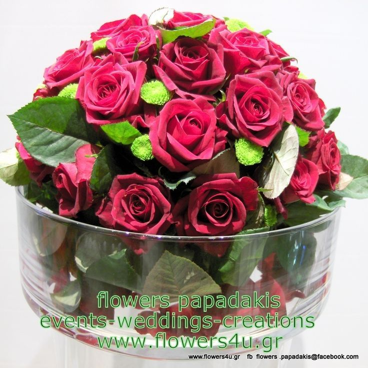 center piece red roses arrangement   by Flowers Papadakis est 1989  order now www.flowers4u.gr   tel 00302109426971   info@flowers4u.gr   ανθοπωλειο Παπαδάκης   Ζησιμοπουλου 91 Π.Φαληρο