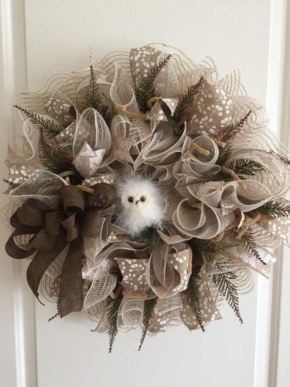 Owl Deco Mesh Wreath by Craftnrelax on Etsy