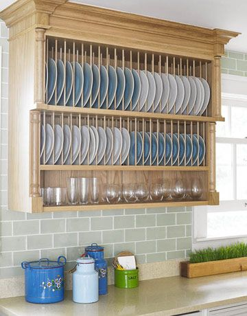 Oak Plate Rack:   The Pilaster plate rack in oak is one of Smallbone's signature pieces. Dishes and glassware used every day are within easy reach. photo credit: Miki Duisterhof