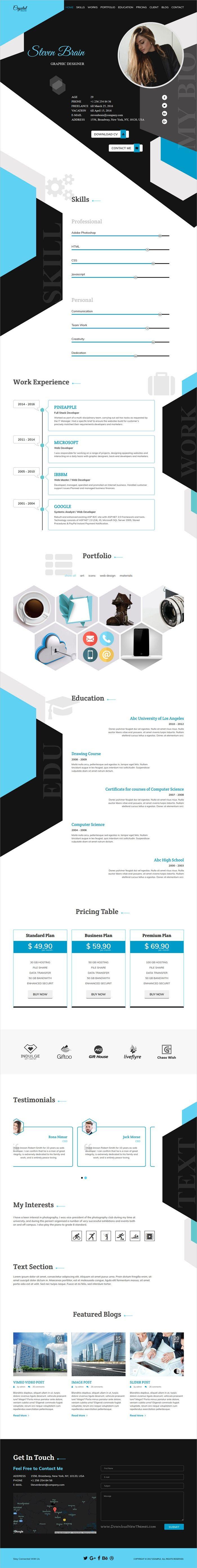 Crystal is a one page creative #Bootstrap HTML #portfolio & #CV / Resume template for Designer, Developer, Freelancer Artist, Photographer website download now➩ https://themeforest.net/item/crystal-creative-resume-cv-and-portfolio-html-template/19506943?ref=Datasata