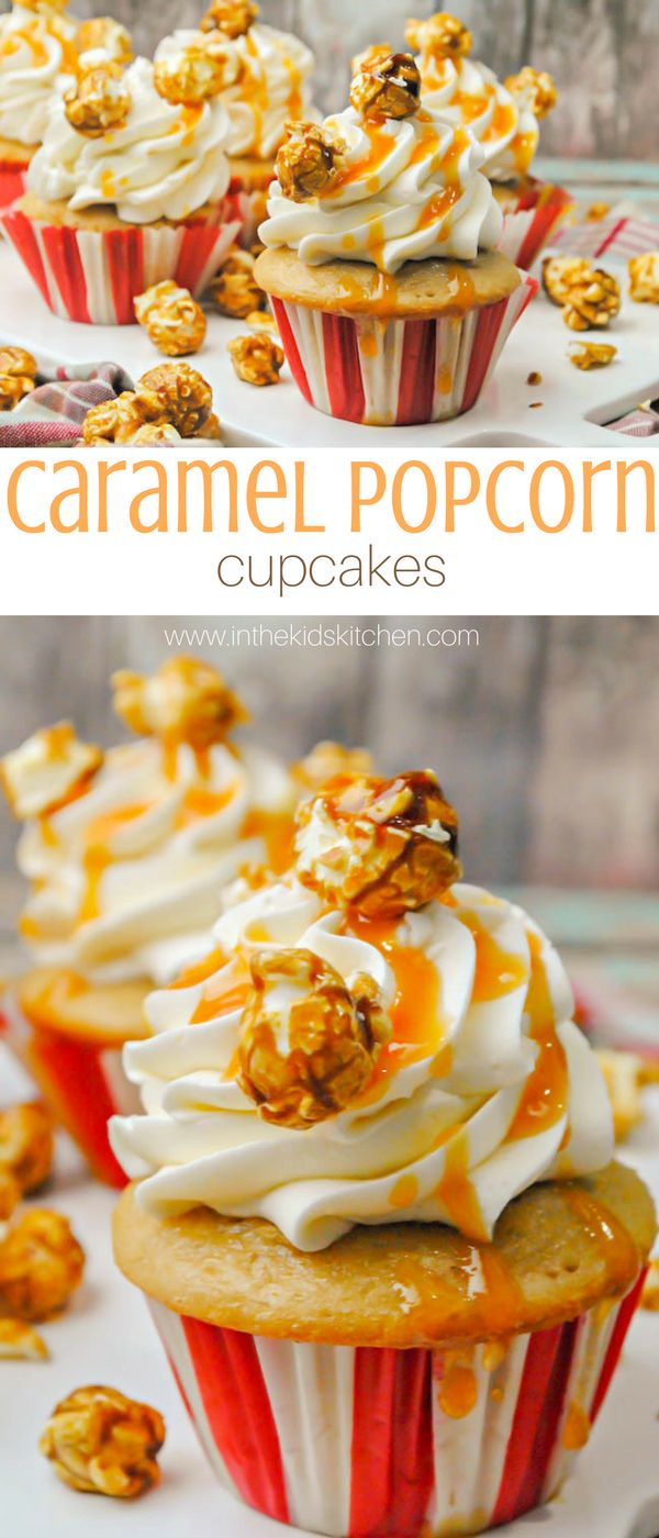 Caramel Popcorn Cupcakes, perfect for a kids' circus or baseball birthday party theme - a delicious vanilla butter cupcake with caramel buttercream topped with cracker jack popcorn.