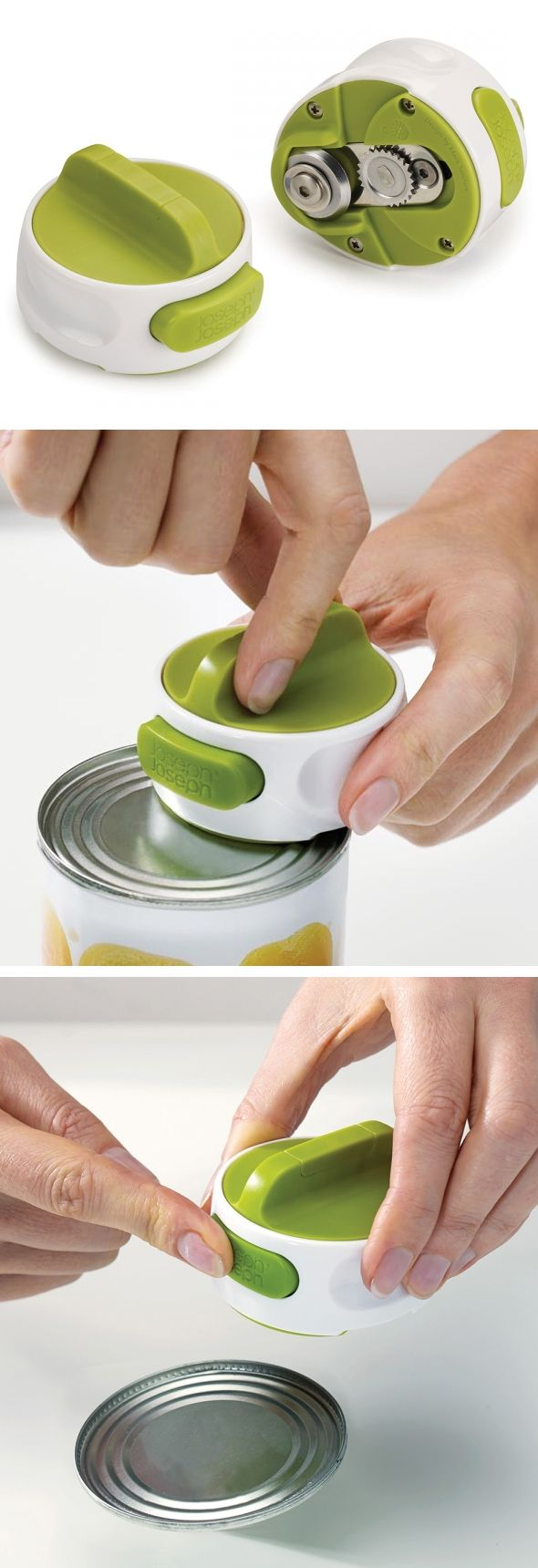 Compact Can Opener // attaches and locks onto lid, so you can open the can using…