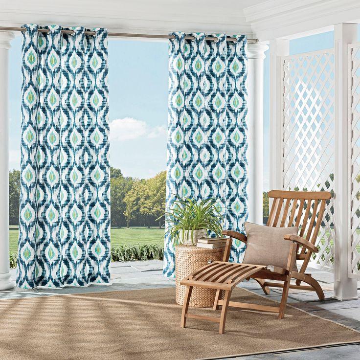 "Barbados Indoor/Outdoor Geometric Curtain Panel Blue (52""x95"") - Parasol"