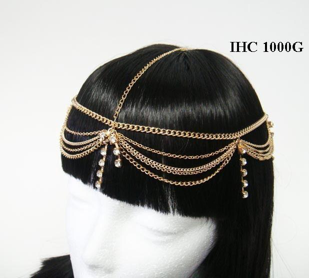 Gold Head Chain Paved Rhinestones Egyptian Style Bohemian Tassel Hair Piece #HairChain