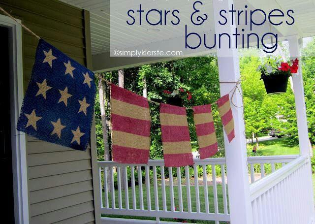 Burlap Banner, Can't wait to make this!: Burlap Flags, Burlap Buntings, Brown Paper Packages, Burlap Stars, Burlap Banners, 4Th Of July, Stripes Buntings, July 4Th, Brown Paper Packaging