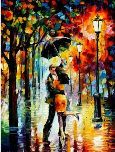 레오니드 아프레모브,  . 레오니드 아프레모브는 붓이아니라 팔레트 나이프로 작품을 그린다. (사실 그린다고 표현해야 할 지 잘 모르겠다.) 그 때문인지 그의 그림 속에선 비가 자주 내린다. 이 작품에서도 비가 오고 있다. 빗 속에서 연인들은 비에 아랑곳하지 않고 춤을 추고 있다. 노래 'Singing in the rain'을 연상시키는 작품이다. 하지만 사실 그림 속의 연인은 서로 사랑한다고 느껴진다기 보다는 왠지 모르게 슬픔이 느껴지고 곧 이별을 맞이할 것만 같다.