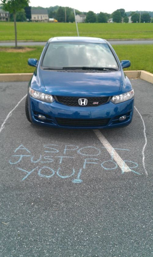 From now on I'm keeping chalk in my car. Lubbock needs to know that just because you drive a big truck does not entitle you to park sideways across 3 spaces in a crowded lot!